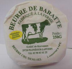 *BEURRE BARATTE CRU D/SEL 250G