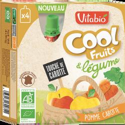 Cool fruits et Légumes pomme carotte VITABIO, 4 gourdes de 90g