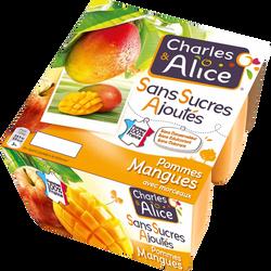 Compote sans sucres ajouté pomme mangue CHARLES & ALICE, 4x100g