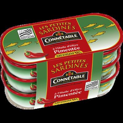 Petites sardines à l'huile d'olive vierge extra pimentée CONNETABLE, 3boîtes de 1/13, 165g