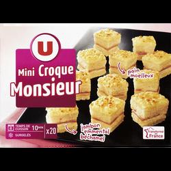 Mini Croques Monsieur pain de mie moëlleux jambon-emmental surgelés U,20 pièces, 240g