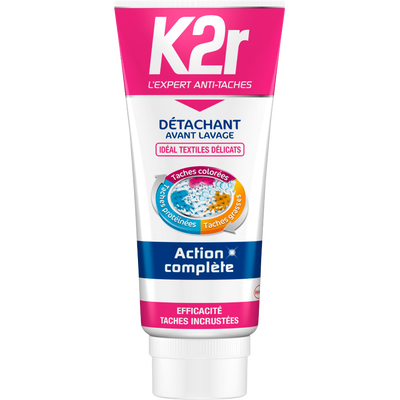 Gel détachant avant lavage textiles délicats K2R, tube de 200ml