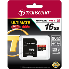 CARTE MEMOIRE MICRO SECURE DIGITAL TRANSCEND 16GO CLASS 10 U1 400X + ADAPTATEUR