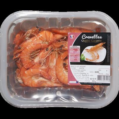 Crevette cuite, penaeus spp., élevée Amérique de Sud, calibre 60/80, barquette 500g