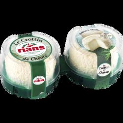 Crottin de chèvre au lait pasteurisé RIANS, 22% de MG, 2x60g
