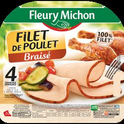 Filet de poulet braisé FLEURY MICHON, 4 tranches épaisses, 120g