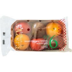 Tomate mélange couleurs, calibre 47/+, catégorie 2, Maroc, barquette 6fruits