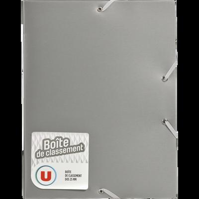 Boite de classement U, en métal, dos 25mm, gris