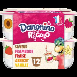 Yaourt aromatisé aux fruits avec paille RIGOLO DANONINO, 12x125g