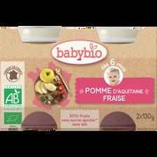 Pot douceur pomme fraise BABYBIO, dès 6 mois, 2x130g