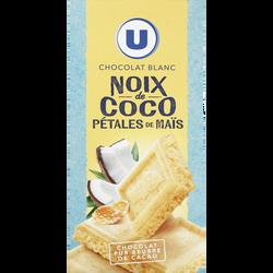 Chocolat blanc à la noix de coco et pétale de maïs U, tablette de 200g