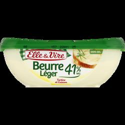 Beurre léger demi-sel ELLE & VIRE, 41% de MG, barquette de 250g