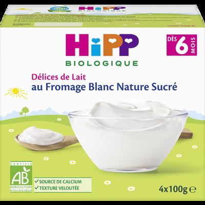 Fromage blanc nature sucré dès 6mois BIO HIPP, 4 coupelles de 100g