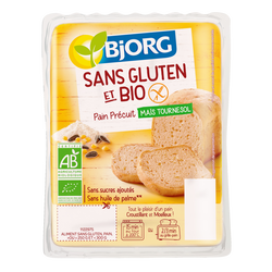 Pain précuit sans gluten à base de maïs et graines de tournesol bio BJORG, 250g