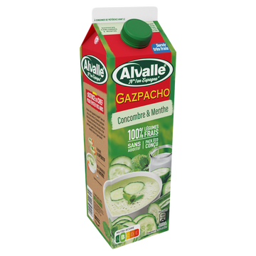 Alvalle Soupe Froide Gazpacho Concombre Et Menthe Alvalle Brick 1 Litre