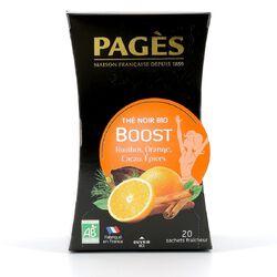 THE NOIR BOOST PAGES bio Rooibos, Orange, Cacao, Epices boite de 20 sachets 36g