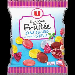 Bonbons fruits stévia sans sucre U, paquet de 120g