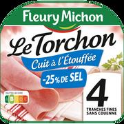 Fleury Michon Jambon Le Torchon Cuit À L'étouffée Sans Couenne -25% De Sel Fleury Michon 4 Tranches Fines 120g