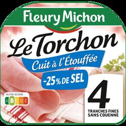 Jambon le torchon cuit à l'étouffée sans couenne -25% de sel FLEURY MICHON 4 tranches fines 120g
