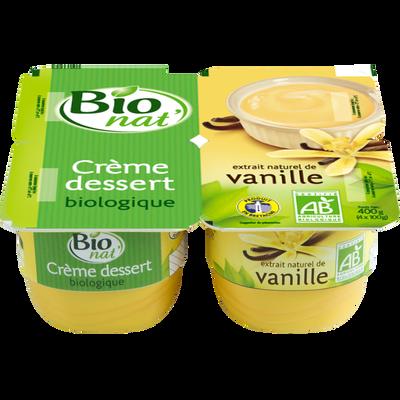 Crème dessert bio à la vanille BIONAT', 4x100g