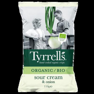 Chips bio pomme de terre crème et oignons TYRRELLS, paquet 110g