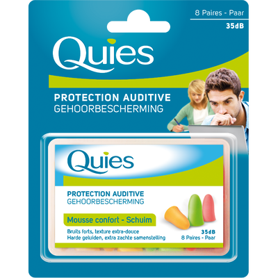 Protections auditives en mousse fluo QUIES, 8 paires