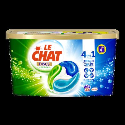 Lessive 4 en 1 l'expert LE CHAT, boîtex25 discs, 0,625g