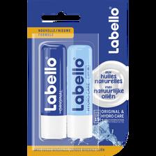 Stick pour les lèvres original hydro care LABELLO, 2x4,8g
