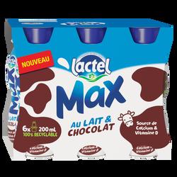 Boisson lactée UHT arômatisée chocolat LACTEL MAX, brique 6x20cl
