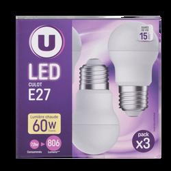 Led U, Mini, ronde, 60w, e27, plastique, lumière chaude, 3 unités