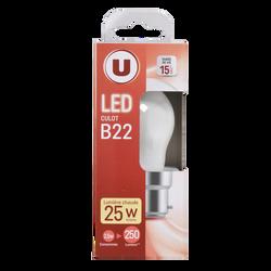 Led U, Mini, ronde, 25w, b22, opaque, lumière chaude