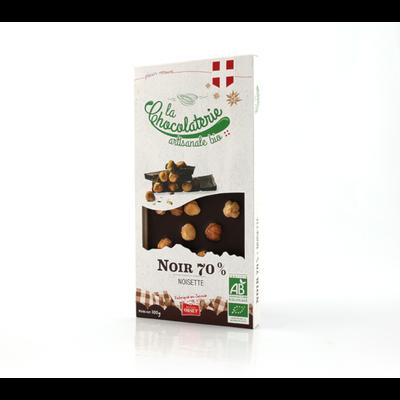 Tablette de chocolat noir 70% noisettes bio LA CHOCOLATERIE ARTISANALE, 100g