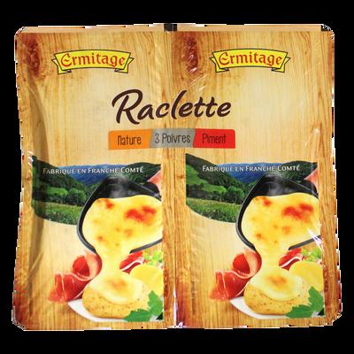Fromage pour repas raclette au lait pasteurisé nature/poivre/moutarde28% de MG ERMITAGE, 800g