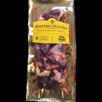 Coeur canard cru traité salaison, France, Barquette 250g