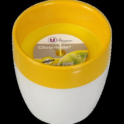 Bougie U MAISON, pot en céramique, jaune/citronnelle