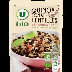 Quinoa lentilles et tomates U BIO, boîte de 250g