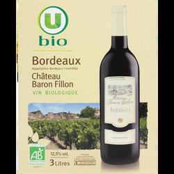Vin rouge AOC Bordeaux Château Baron Fillon U BIO, fontaine à vin de 3l