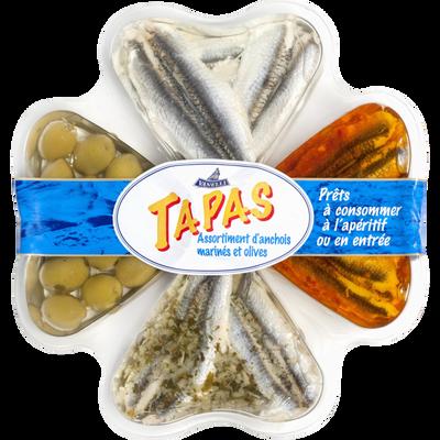 Tapas filets d'anchois marinés + olives, élaboré au Maroc, barquette de 300g