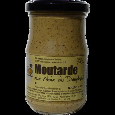 Moutarde aux noix du dauphiné NICONOIX, pot en verre de 210g