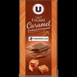 Chocolat au lait fourré caramel double texture U, tablette de 130g