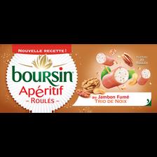 Boursin Fromage Frais Pasteurisé Apéritif Roulé Jambon Fumé Noix , 32,5% De Mg, 100g