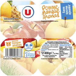 Purée de fruit parfum pommes, mangues et ananas sans sucres ajoutés U,4x100g