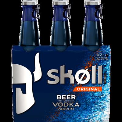Bière aromatisée à la vodka Skoll TUBORG, 6°, 3 packs de 33cl