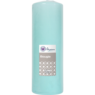 Bougie U MAISON, non parfumée, 68x195mm, vert d'eau