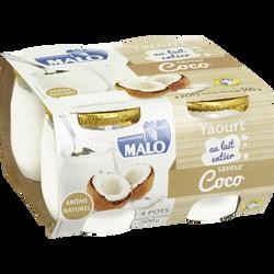 Yaourt au lait entier arôme noix de coco, pot en verre, MALO, 4x125g
