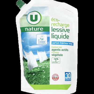 Lessive liquide fraîcheur intense U NATURE, recharge de 2l, 30 lavages
