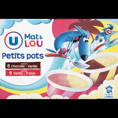 Petits pots vanille fraise & vanille chocolat U MAT & LOU, 12 unités,342g