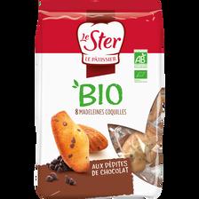 Madeleines pépites chocolat bio LE STER PATISSIER, sachet de 200g