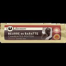 Beurre doux de baratte AOP de Charente Poitou U SAVEURS, 82%mg, 250g
