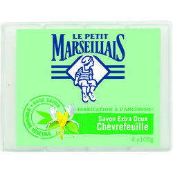 Savon soin extra doux au chèvrefeuille LE PETIT MARSEILLAIS, 4x100g
